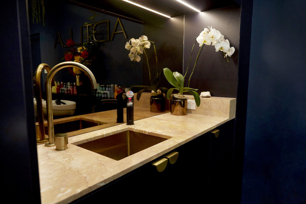 custom marble brushed brass finishes salon fit out