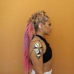 poni me frankie flanagan coachella hair pink braids chained hair